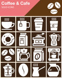 Coffee and Cafe vector icons set, modern solid symbol collection, filled white pictogram pack. Stock Photos