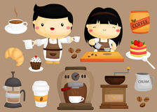 Coffee cafe vector set. A coffee and cafe vector set Stock Image