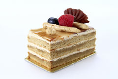 Coffee Cake. Decorated with fresh raspberry and chocolate Royalty Free Stock Images