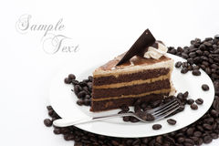 Coffee Cake. With Coffee Beans on white background Stock Photography