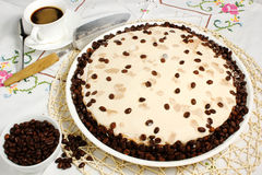 Coffee cake. On tablecloth and the cup Royalty Free Stock Photo