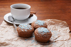 Coffee and cake. Cup of coffee and muffins Royalty Free Stock Image