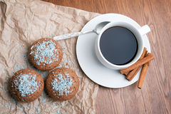 Coffee and cake. Cup of coffee and muffins Stock Images