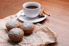 Coffee and cake. Fragrant coffee on a table with fresh cupcakes Royalty Free Stock Photos