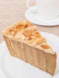 Coffee cake with almond Stock Photos