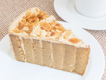 Coffee cake with almond Royalty Free Stock Photo