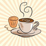 Coffee and cake. Animated drawings located on the ground coffee and cake Royalty Free Stock Image