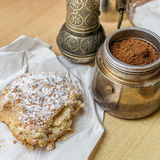Coffee and cake. Apple pie and freshly ground coffee Stock Photo