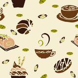 Coffee and cake in bakery shop concept design for seamless pattern with brown coffee color tone and little green. Background Royalty Free Stock Images