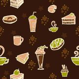 Coffee and cake in bakery shop concept design for seamless pattern with brown coffee color tone and little green. Background Stock Photo