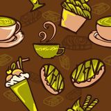 Coffee and cake in bakery shop concept design for seamless pattern with brown and green color tone. Background Royalty Free Stock Photo