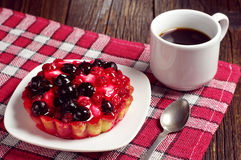 Coffee and cake with berries Royalty Free Stock Image