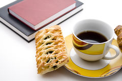 Coffee with cake and books Stock Photography