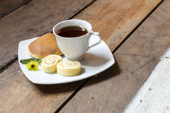 Coffee and cake with breakfast. In the morning Stock Photo