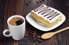 Coffee and cake with chocolate Stock Images