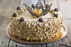 Coffee cake with chocolate decoration. Royalty Free Stock Photography