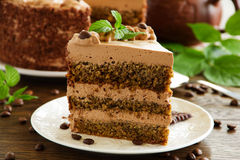 Coffee cake. With chocolate with nuts royalty free stock image