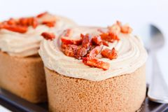 Coffee cake with cream and almond topping Royalty Free Stock Image