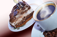 Coffee and cake. Delicious cake and hot coffee on a beautiful background Royalty Free Stock Photo
