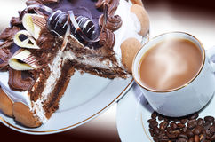 Coffee and cake. Delicious cake and hot coffee on a beautiful background Stock Images