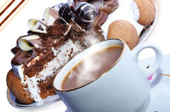 Coffee and cake. Delicious cake and hot coffee on a beautiful background Royalty Free Stock Photography