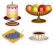 Coffee with cake and fruit, 3D Stock Photo