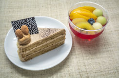 Coffee cake and fruit jelly Royalty Free Stock Images