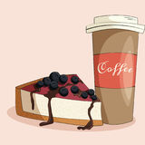 Coffee and cake illustration. stock image