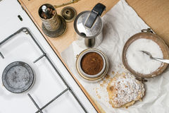 Coffee and cake. Kitchen still life with coffee maker, apple pie and gas cooker Stock Image