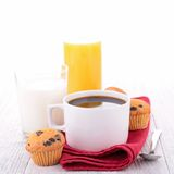 Coffee, cake and milk Royalty Free Stock Images
