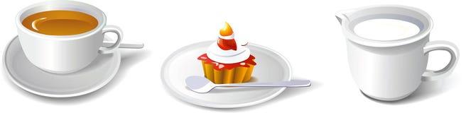 Coffee, cake & milk royalty free stock photography