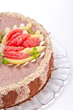 A Coffee cake with pear and Grapefruit Royalty Free Stock Images