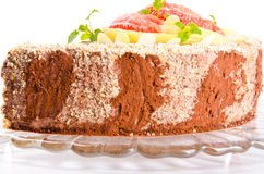 A Coffee cake with pear and Grapefruit Royalty Free Stock Image