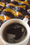 Coffee and cake with poppy seeds and orange Stock Photography