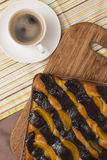 Coffee and cake with poppy seeds and orange Royalty Free Stock Image