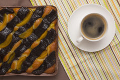 Coffee and cake with poppy seeds and orange Royalty Free Stock Photos