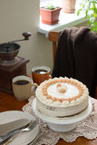 Coffee cake, rustic style, selective focus. Royalty Free Stock Photo