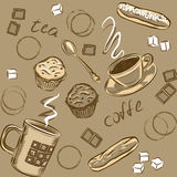 Coffee and cake seamless pattern Stock Images