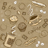 Coffee and cake seamless pattern.Vector illustration. Royalty Free Stock Image