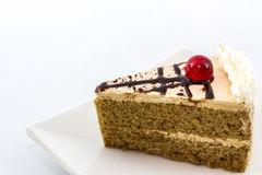 Coffee cake slice on white background. Stock Photography