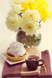 Coffee and cake with whipped cream Stock Photos