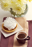 Coffee and cake with whipped cream Stock Image