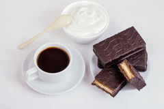 Coffee and cake, whipped cream Stock Photography