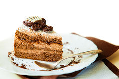 Coffee cake on white plate Royalty Free Stock Photography