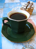 Coffee and cakes. Black coffee and cakes stock photography