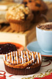 Coffee cakes. Various coffee cakes set on arranged  table Royalty Free Stock Image