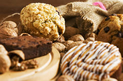 Coffee cakes. Assortment of coffee cakes and muffins set on a table Stock Photo