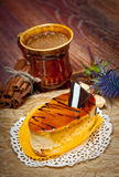 Coffee cakes with chocolate, spices and coffee seeds Royalty Free Stock Photos