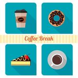 Coffee and cakes. Set of icons for web royalty free illustration