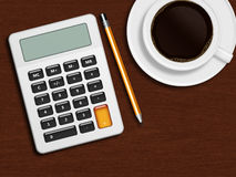 Coffee calculator and pencil lying on wooden desk in office Royalty Free Stock Photos